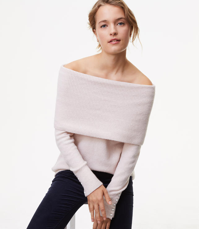 Petite Button Cuff Off the Shoulder Sweater
