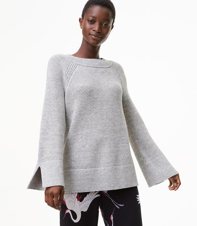 Spacedye Textured Slit Cuff Sweater