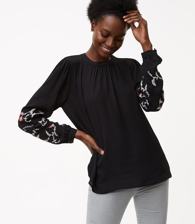 Floral Embroidered Mixed Media Blouse