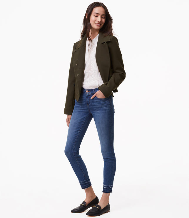 Modern Stacked Skinny Jeans in Bright Mid Indigo Wash