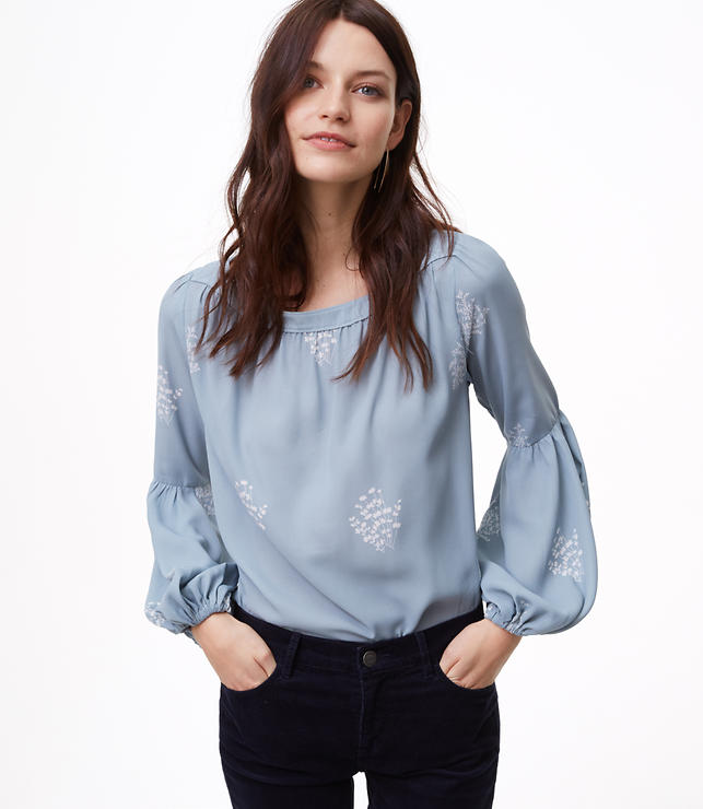 Floral Lantern Sleeve Shirred Blouse