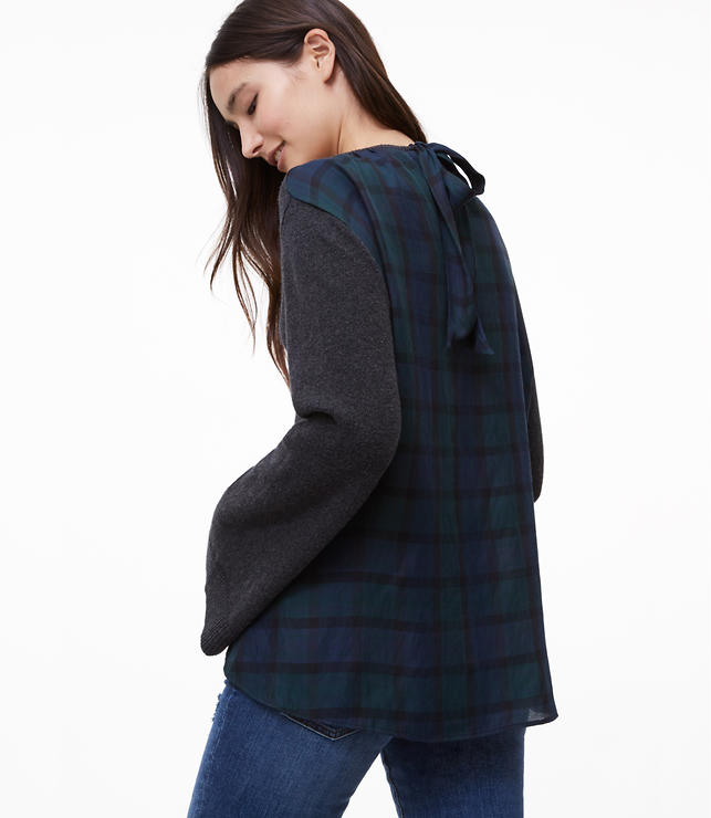 Plaid Tie Back Mixed Media Sweater