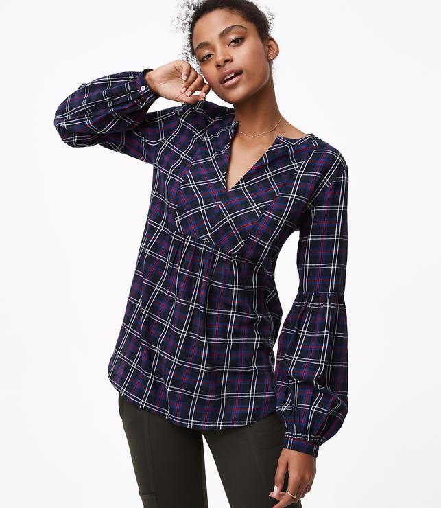 Plaid Lantern Sleeve Tunic Shirt