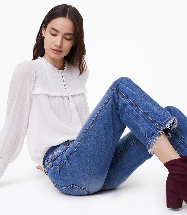 Modern Vintage Straight Jeans in Destructed Mid Stonewash
