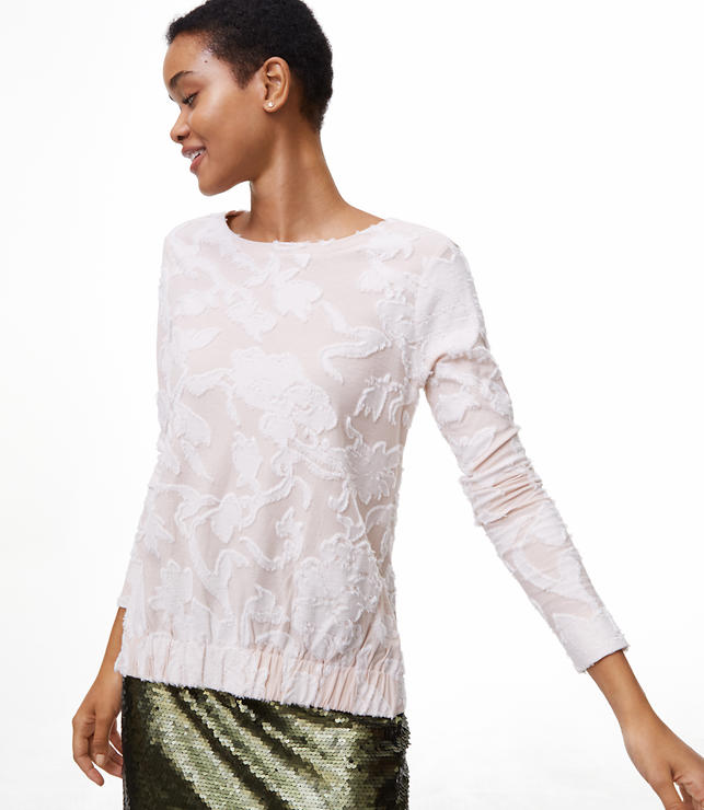 Textured Floral Gathered Top