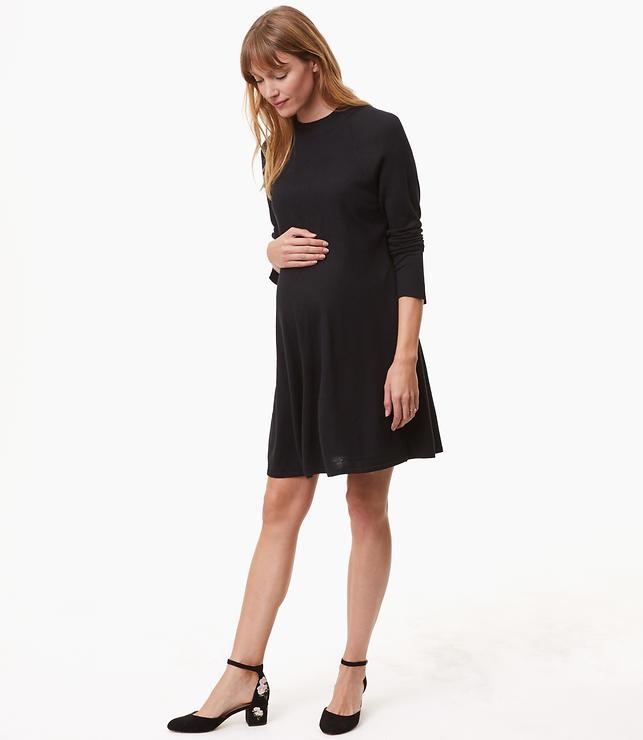 Maternity Mock Neck Swing Sweater Dress
