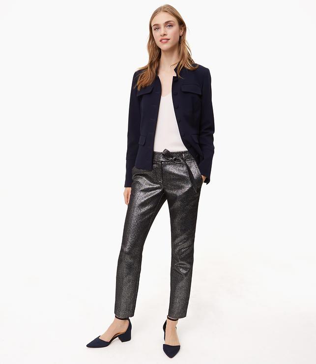 Petite Slim Shimmer Tie Waist Pants in Marisa Fit