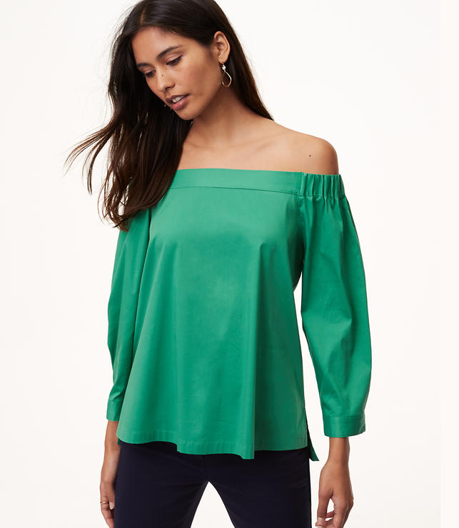Button Back Off The Shoulder Shirt