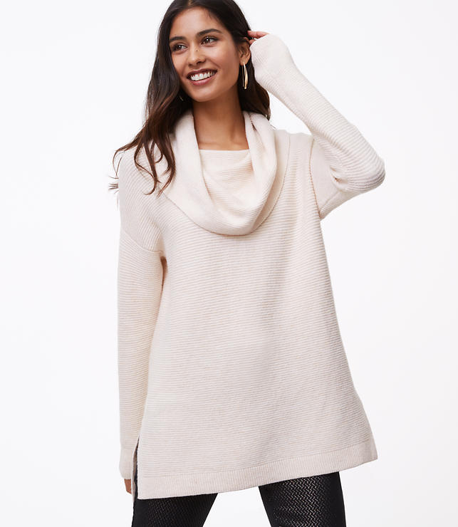 Petite Textured Cowlneck Tunic Sweater