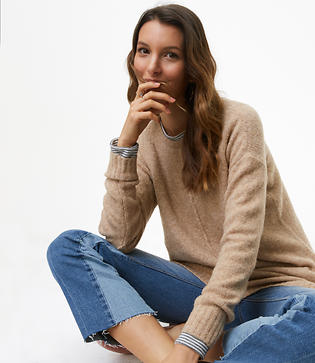 LOFT Petite Seamed Tunic Sweater