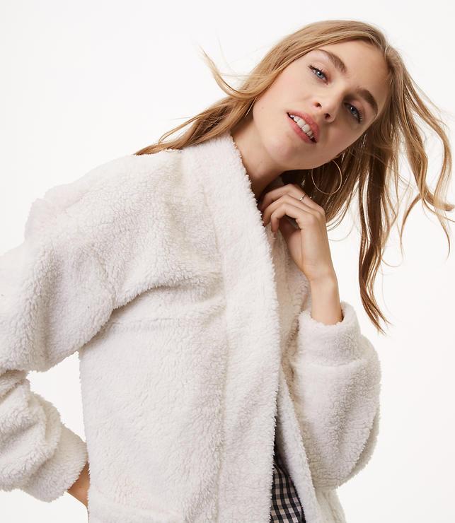 Petite Fleece Open Cardigan | LOFT