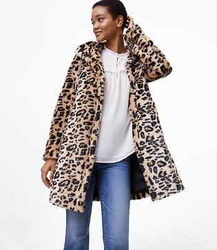 LOFT Leopard Faux Fur Coat