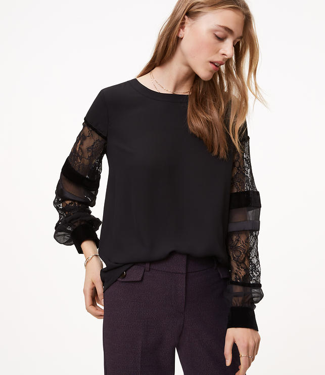 Velvet Lace Sleeve Blouse