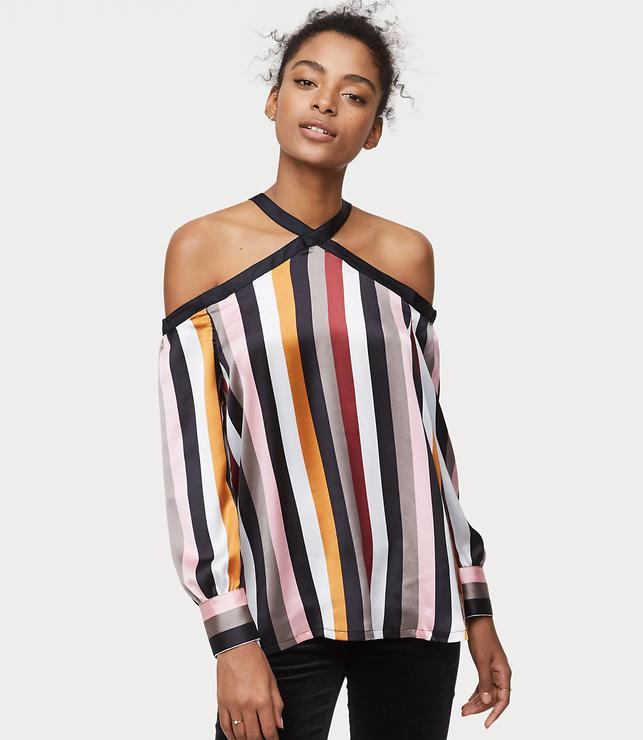 Petite Striped Off The Shoulder Halter Blouse
