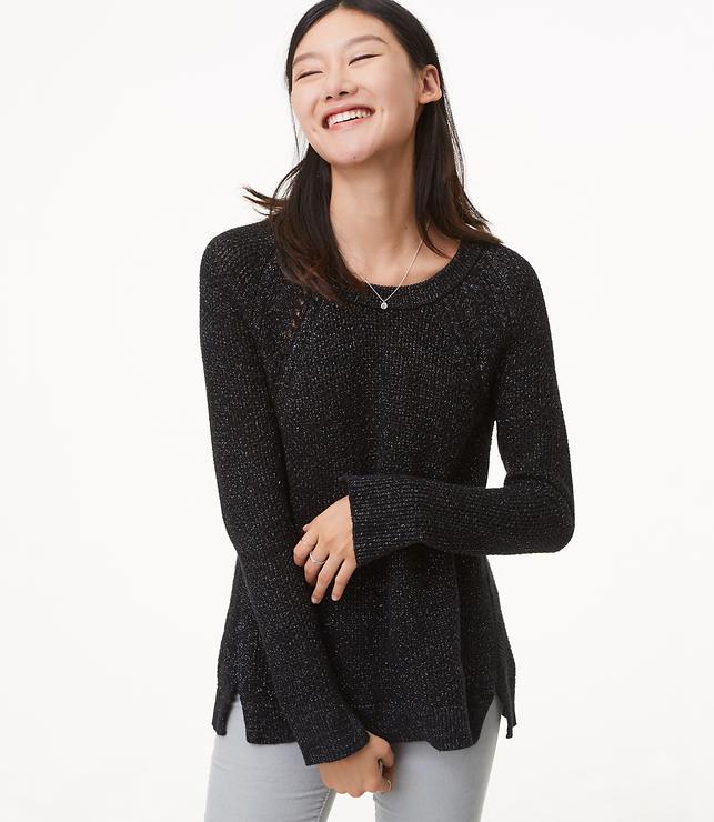 Shimmer Cable Shoulder Sweater