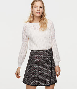 LOFT Fringe Tweed Wrap Skirt