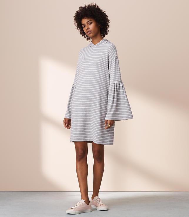 Lou & Grey Striped Signaturesoft Bell Sleeve Hoodie Dress