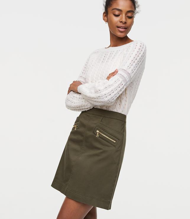 Petite Sateen Zip Skirt