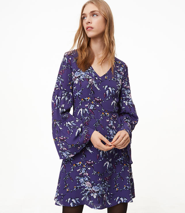 Frosted Branch Bell Sleeve Dress
