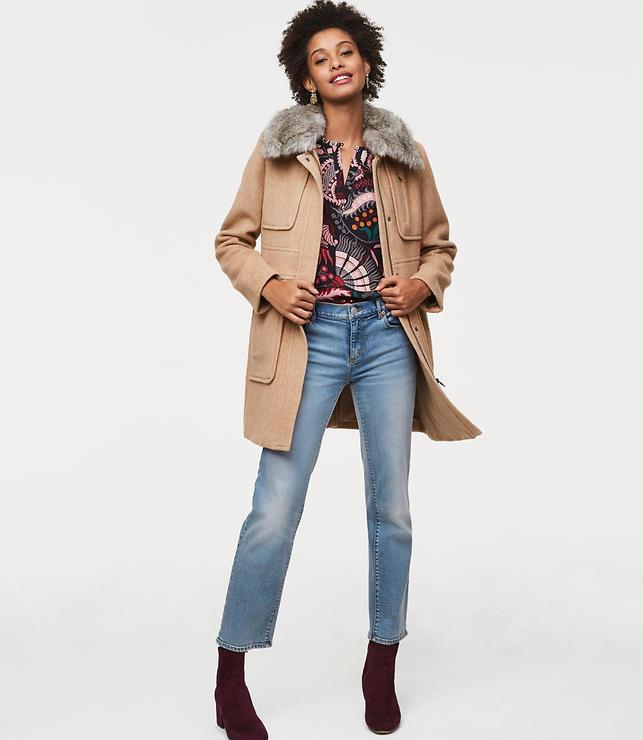 Faux Fur Collar Utility Coat
