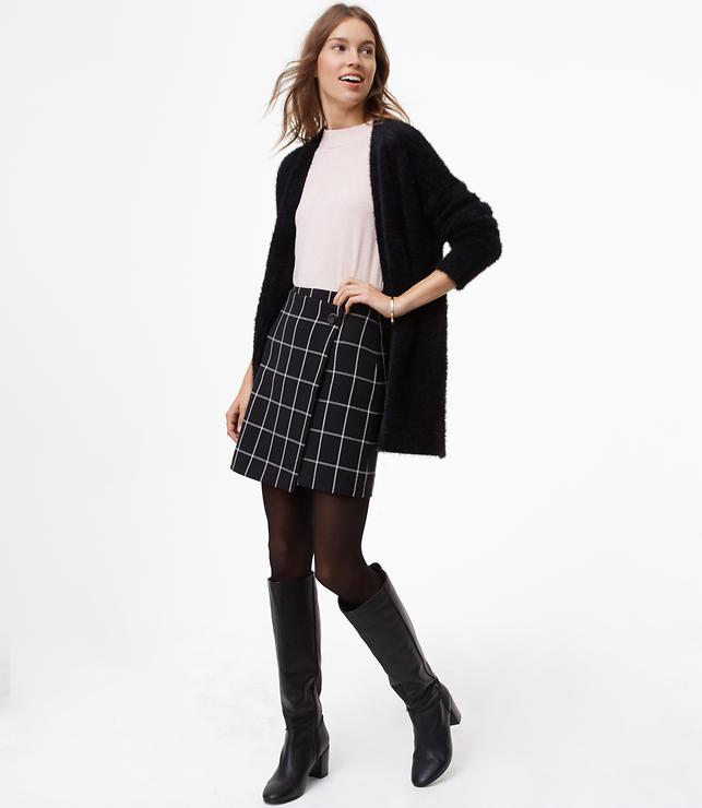 Windowpane Wrap Skirt