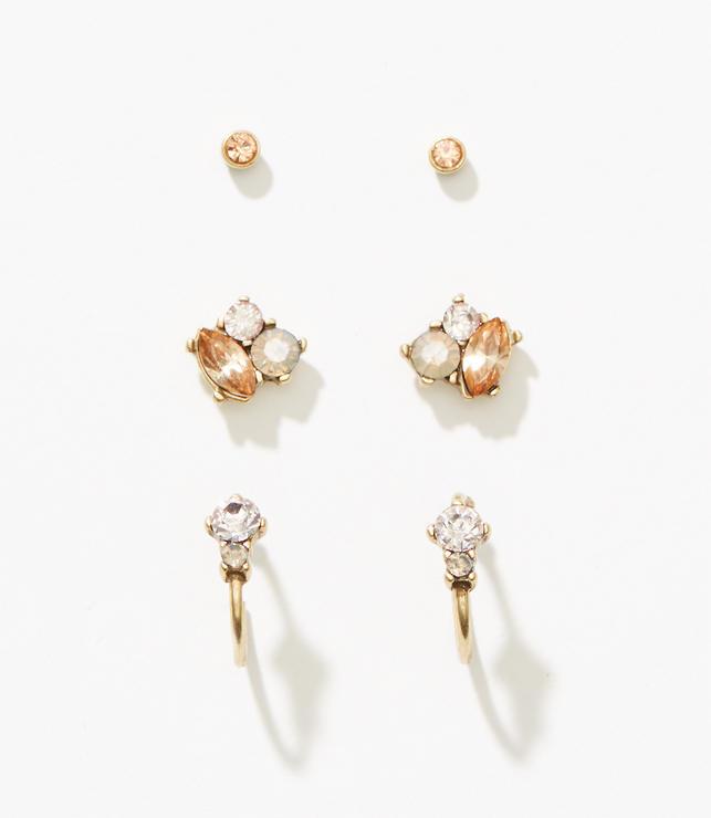 Crystal Stone Stud Earring Set