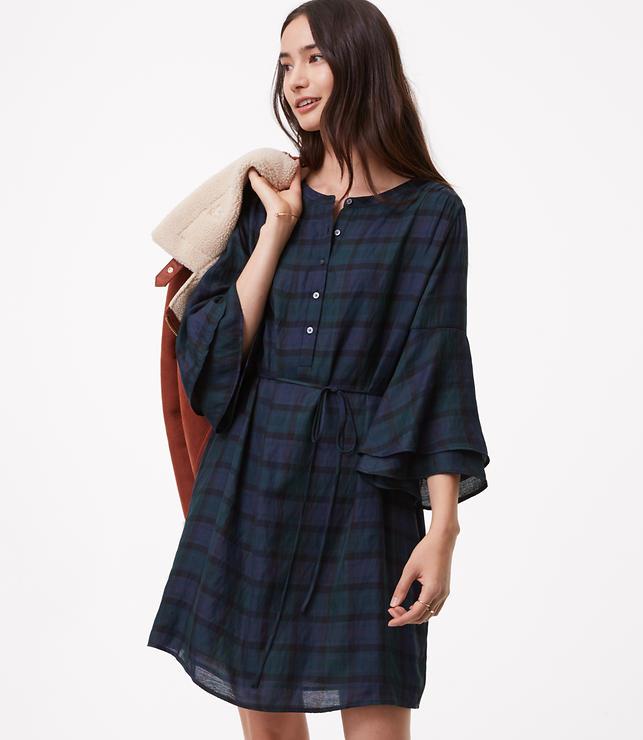 Plaid Bell Sleeve Shirtdress