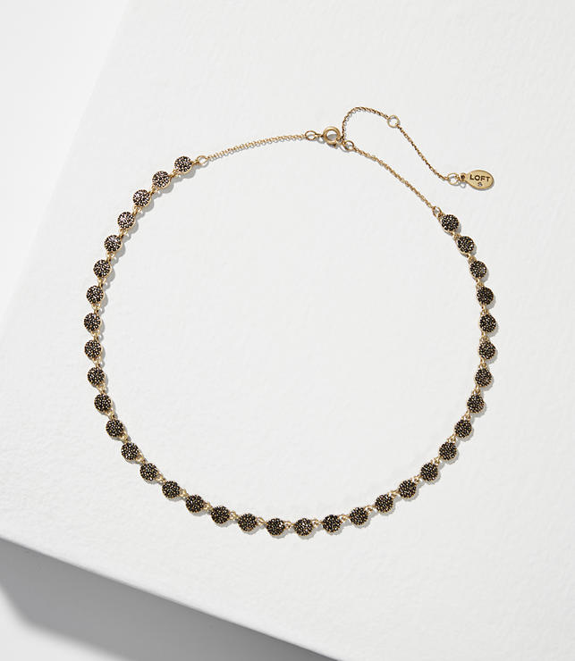 Pave Crystal Disc Necklace