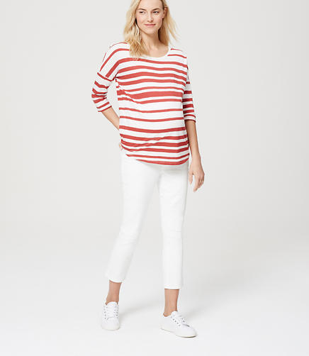 Image of Petite Maternity Kick Crop Jeans in White