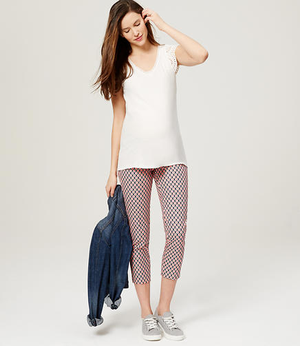 Image of Maternity Geo Riviera Cropped Pants