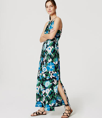 Image of Jungle Floral Halter Maxi Dress