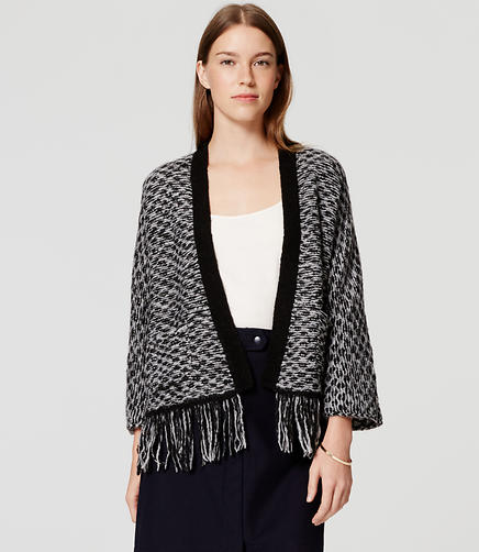 Image of Stitchy Fringe Open Cardigan