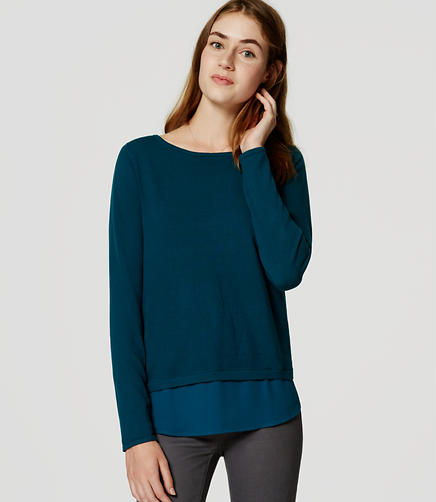 Image of Mixed Media Shirttail Sweater