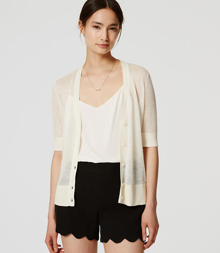 Image of Petite Sheer Short Sleeve Cardigan