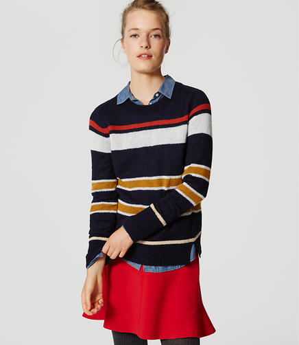 Image of Stripe Notched Sweater