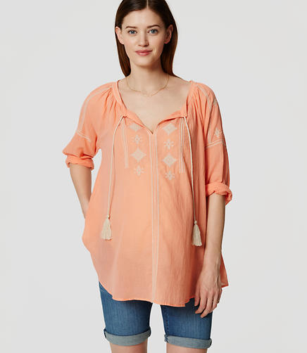 Image of Petite Maternity Embroidered Peasant Blouse
