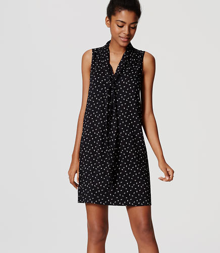 Image of Paw Print Tie Neck Dress
