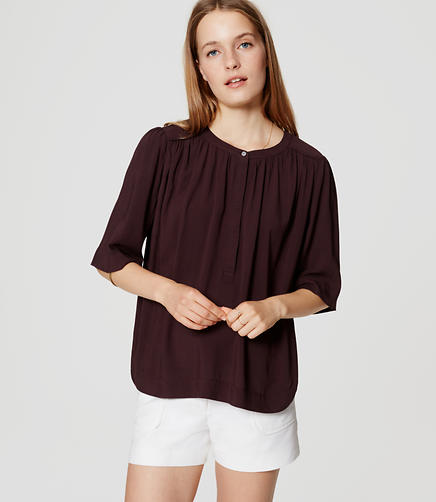 Image of Shirred Henley Blouse