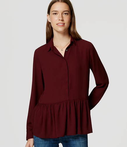Image of Peplum Utility Blouse
