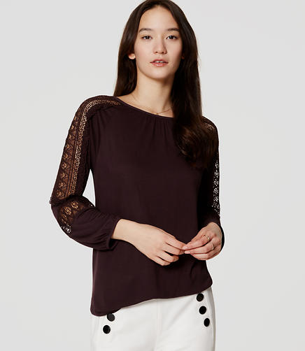 Image of Lace Paneled Blouse