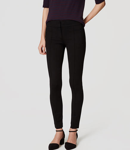 Image of Zip Pocket Pintucked Ponte Leggings