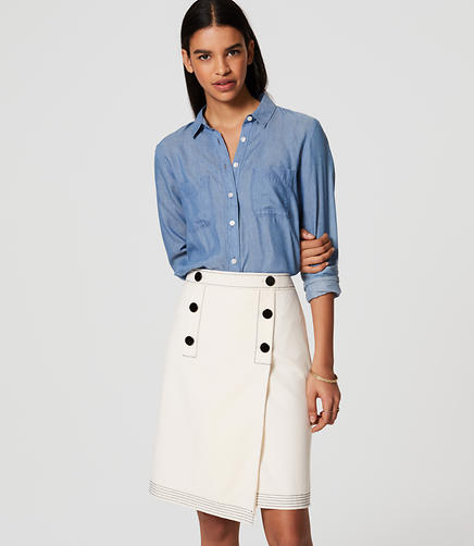 Image of Button Front Wrap Skirt