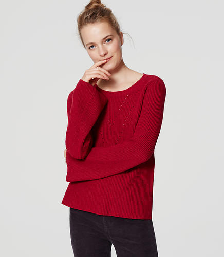 Image of Ribbed Bell Sleeve Sweater