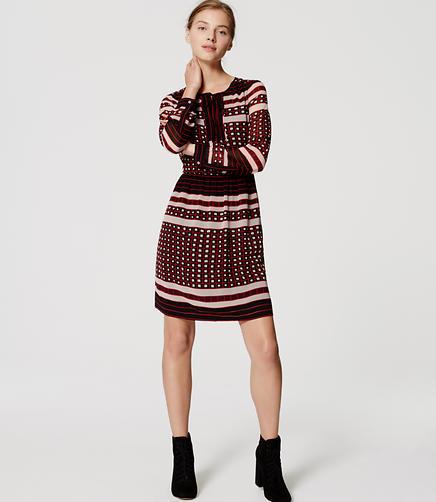 Image of Square Stripe Shirtdress