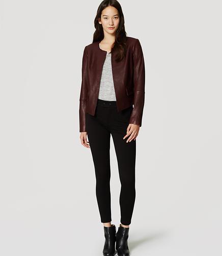Image of Collarless Leather Jacket