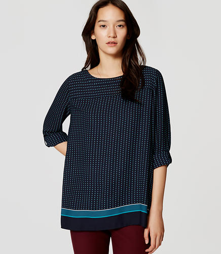 Image of Geo Back Pleat Tab Sleeve Blouse