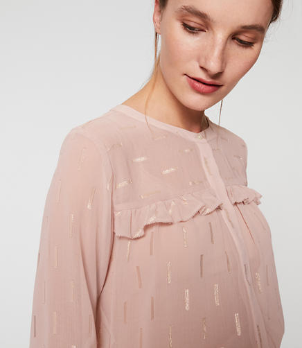 Image of Shimmer Embroidered Ruffle Blouse