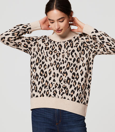 Image of Leopard Turtleneck Sweater