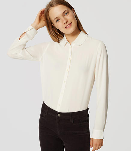 Image of Ruffle Collar Shirt