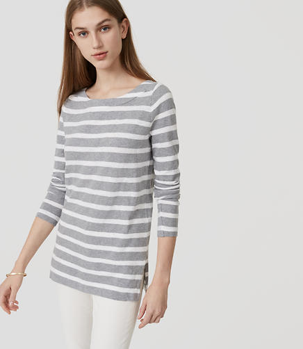 Image of Striped Boatneck Tunic Tee